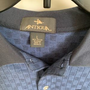 NWT Antigua polo blue checks size L short sleeve